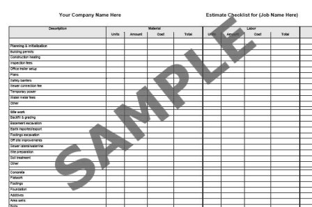 construction material list template .