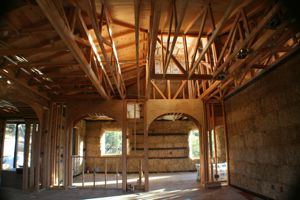 Interior of a straw bale house before plaster