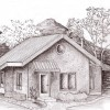 perspective drawing of the Applegate straw bale house