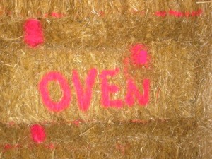 Bales Marked for Oven in straw bale wall