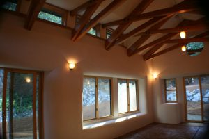 Straw Bale House exposed rafters
