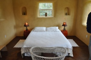 straw bale house bedroom