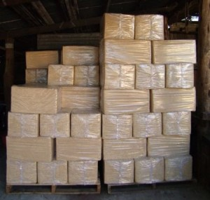 plastic encased straw bales