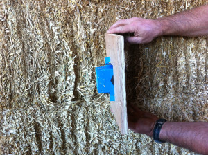 Electrical Box Side View in straw bale wall