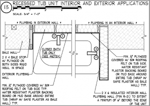 Construction details of a shower in a straw bale house