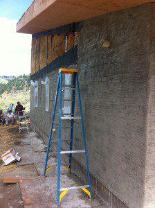 straw bale plaster application