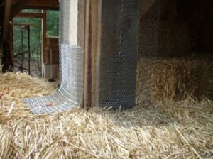 attaching straw bales to a timber frame