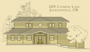 Elevation drawing of a straw bale house