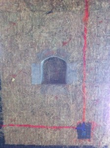 electrical lines marked on a straw bale wall