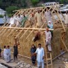 Workers on Straw Bale House in Pakistan