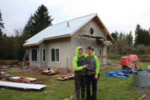 Plastering has begun on the Applegate Cottage