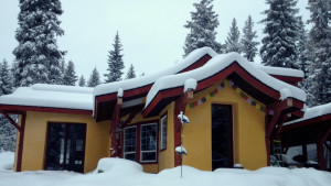 straw bale house in the snow