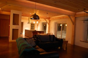 straw bale house interior timber frame