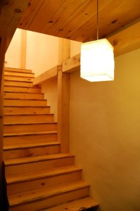 straw bale house interior stairs