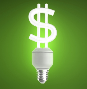 money coming out of lightbulb