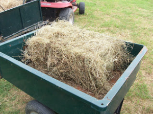 trailer with straw