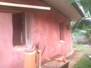 Exterior plastered straw bale house