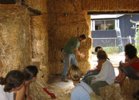 Andrew Morrison teaching straw bale workshop