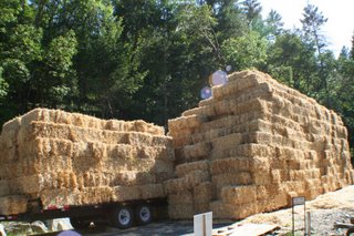 tall stack of straw bales