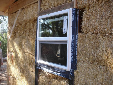 window flashing on straw bale wall