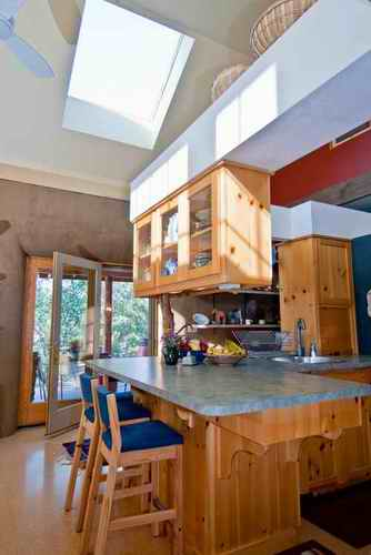 straw bale house kitchen