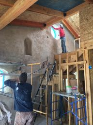 plastering straw bale wall