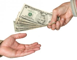 person being handed money