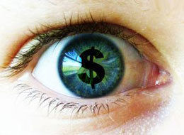 dollar sign in an eyeball