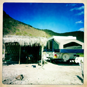 Pop up trailer on Baja beach