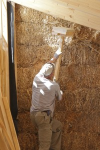 evening straw bale wall