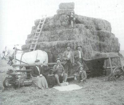 old straw bale cart photo