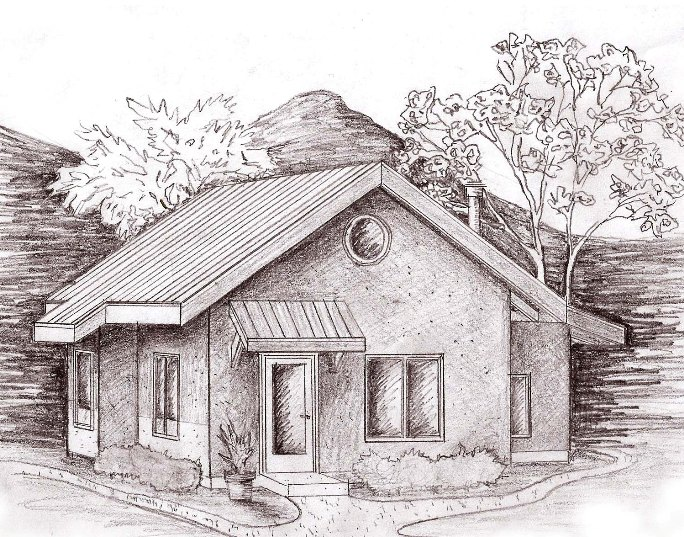 Sketch of Affordable Straw Bale Applegate Cottage