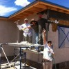 Lime Plastering Party on Straw Bale House