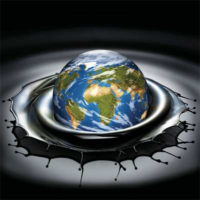 Planet earth in oil