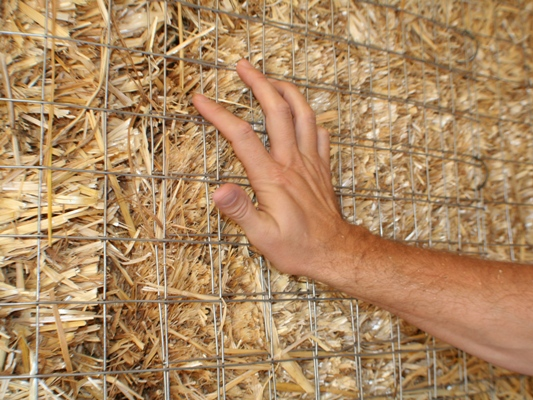 welded wire mesh on straw bale wall